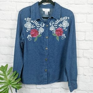 Susan Graver Style Embroidered Denim Top Small